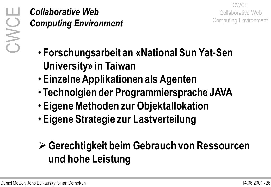 CWCE Forschungsarbeit an «National Sun Yat-Sen University» in Taiwan