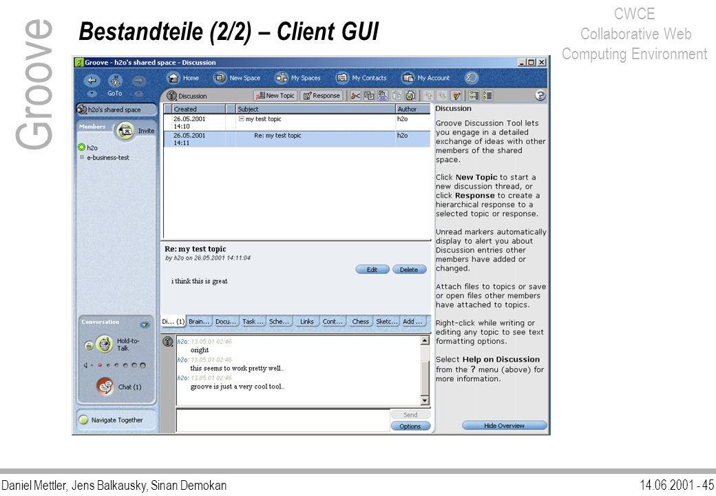 Groove Bestandteile (2/2) – Client GUI