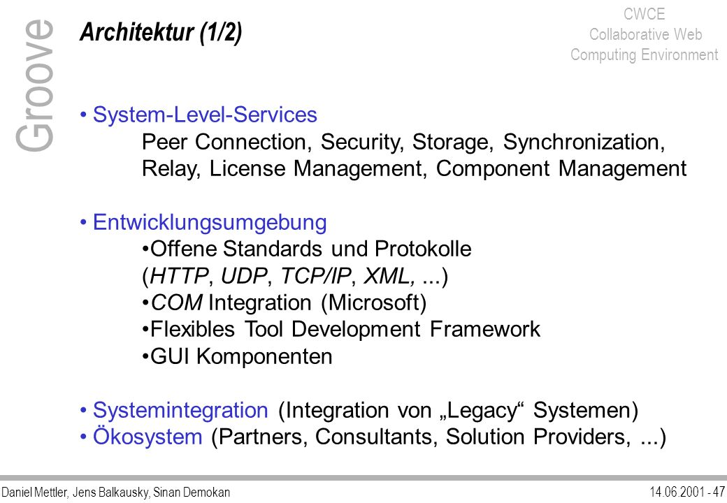 Groove Architektur (1/2) System-Level-Services