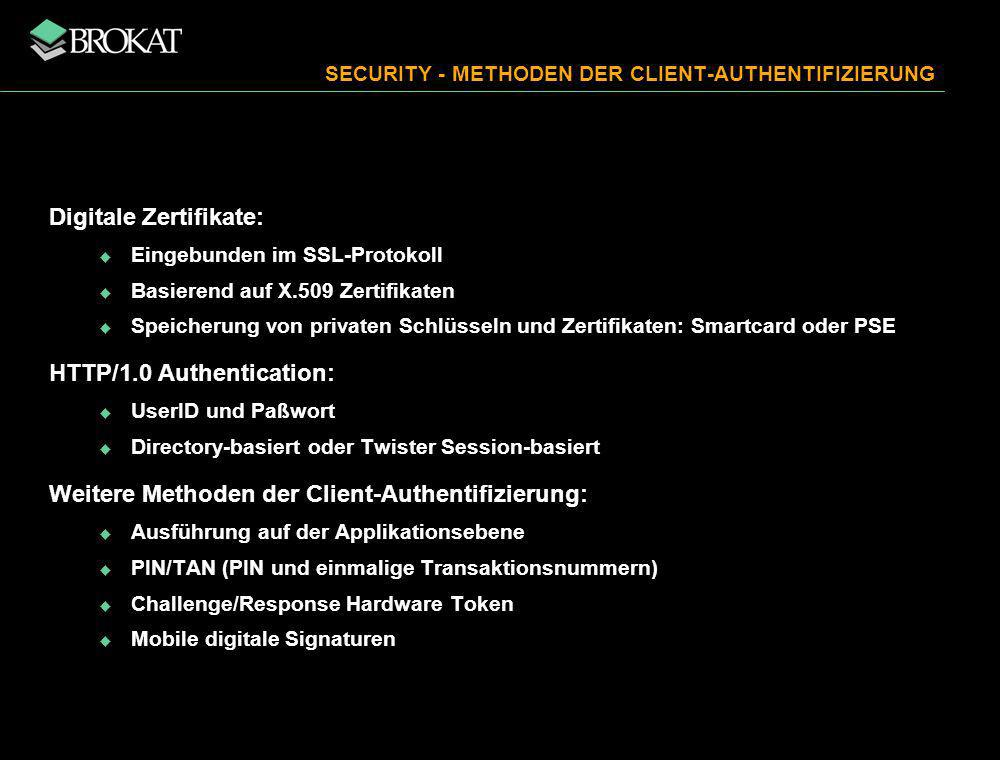 SECURITY - METHODEN DER CLIENT-AUTHENTIFIZIERUNG