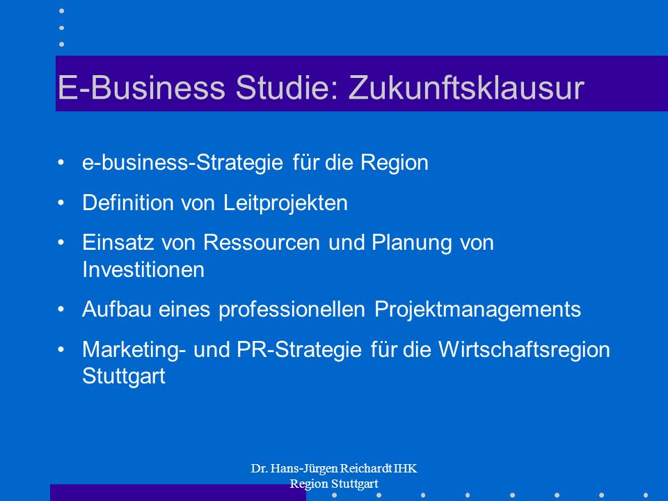E-Business Studie: Zukunftsklausur