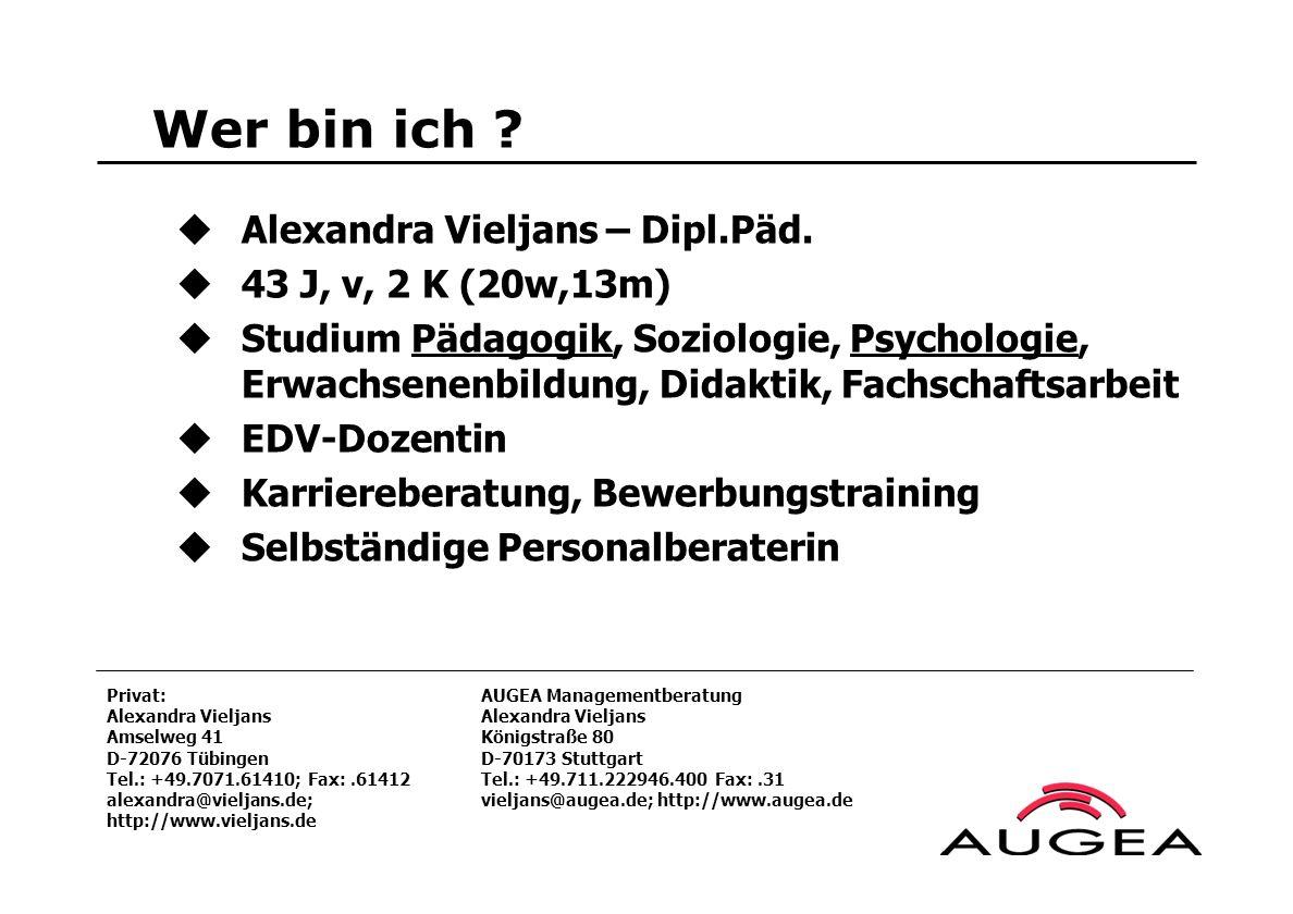 Wer bin ich Alexandra Vieljans – Dipl.Päd. 43 J, v, 2 K (20w,13m)