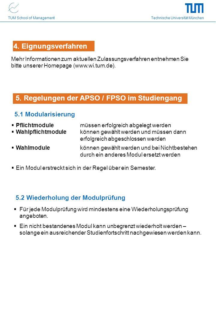5. Regelungen der APSO / FPSO im Studiengang