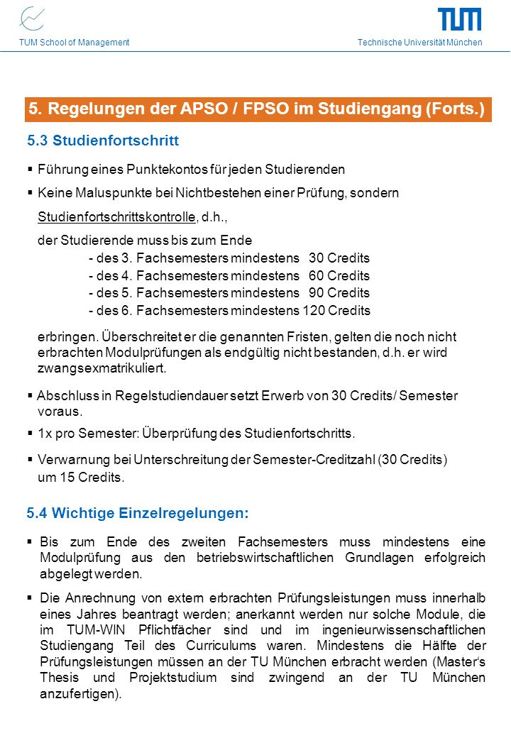 5. Regelungen der APSO / FPSO im Studiengang (Forts.)