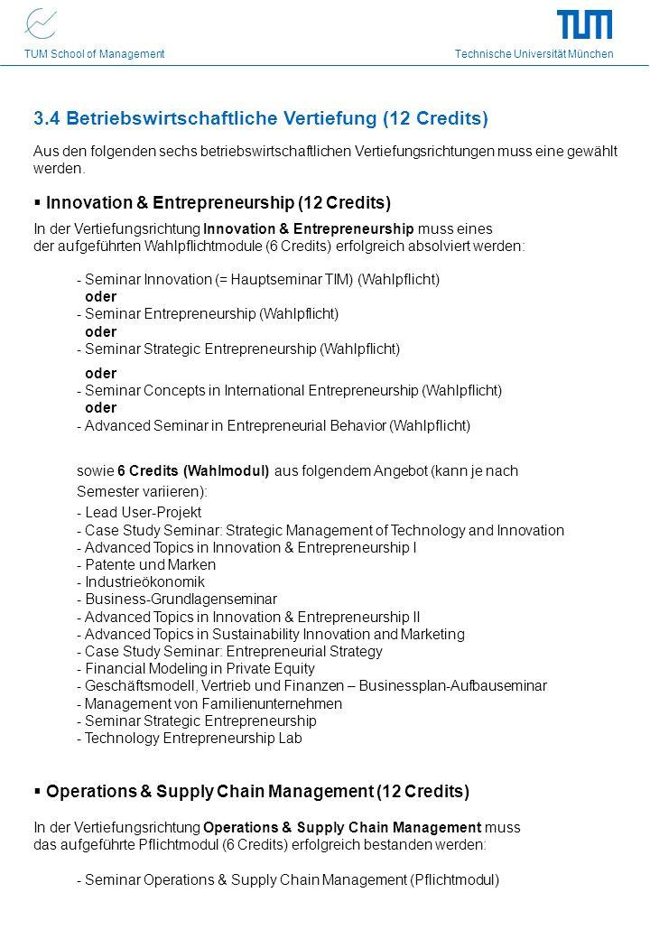 3.4 Betriebswirtschaftliche Vertiefung (12 Credits)
