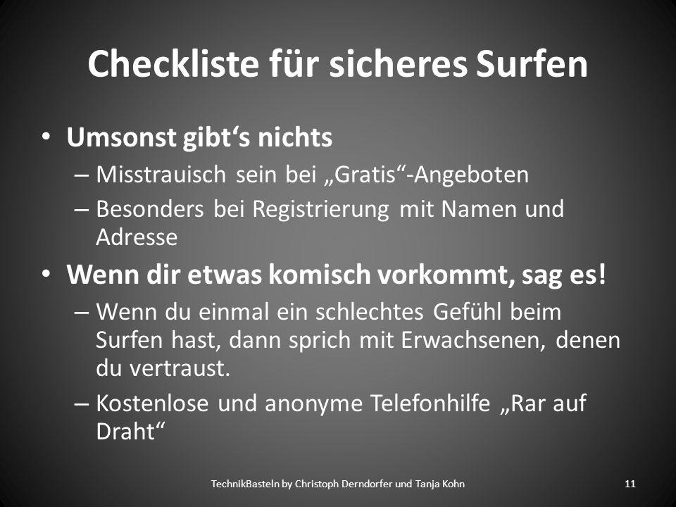 Checkliste für sicheres Surfen