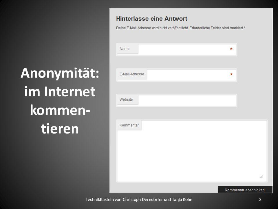 Anonymität: im Internet kommen-tieren