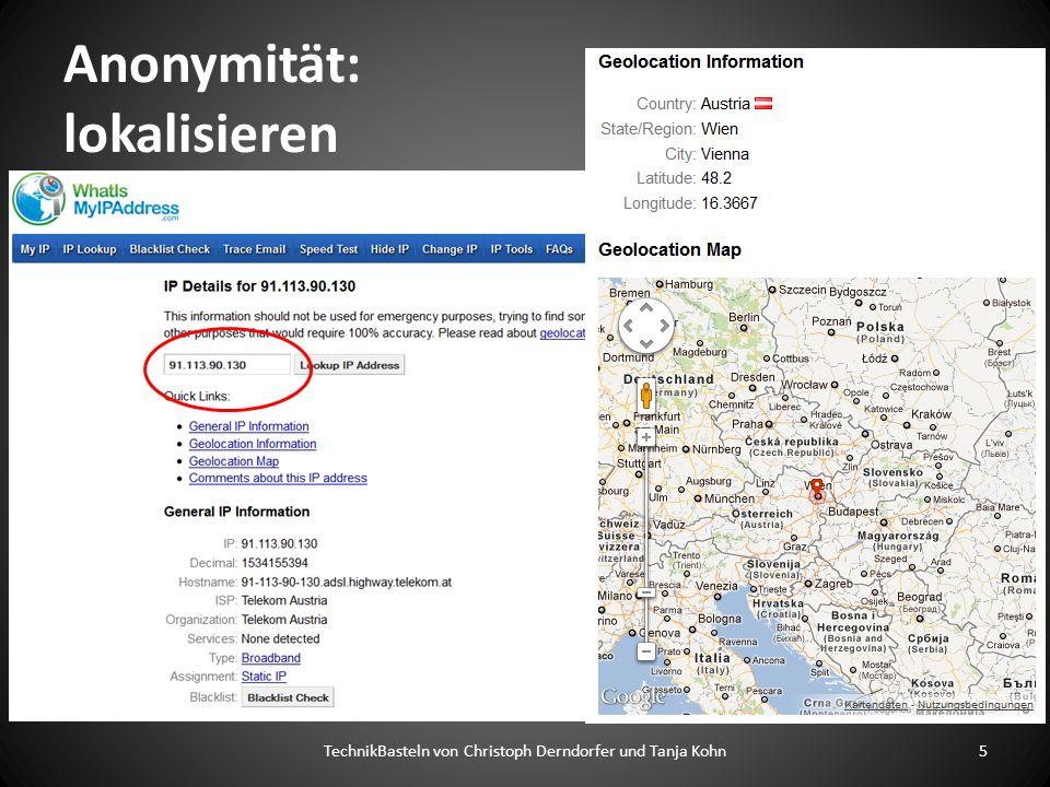 Anonymität: lokalisieren