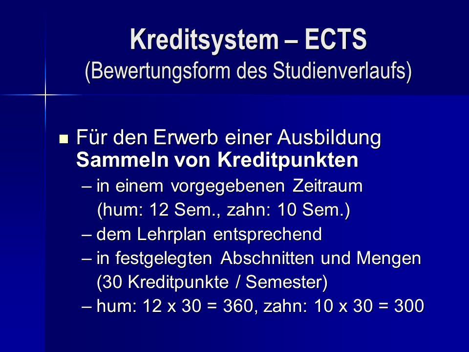 Kreditsystem – ECTS (Bewertungsform des Studienverlaufs)