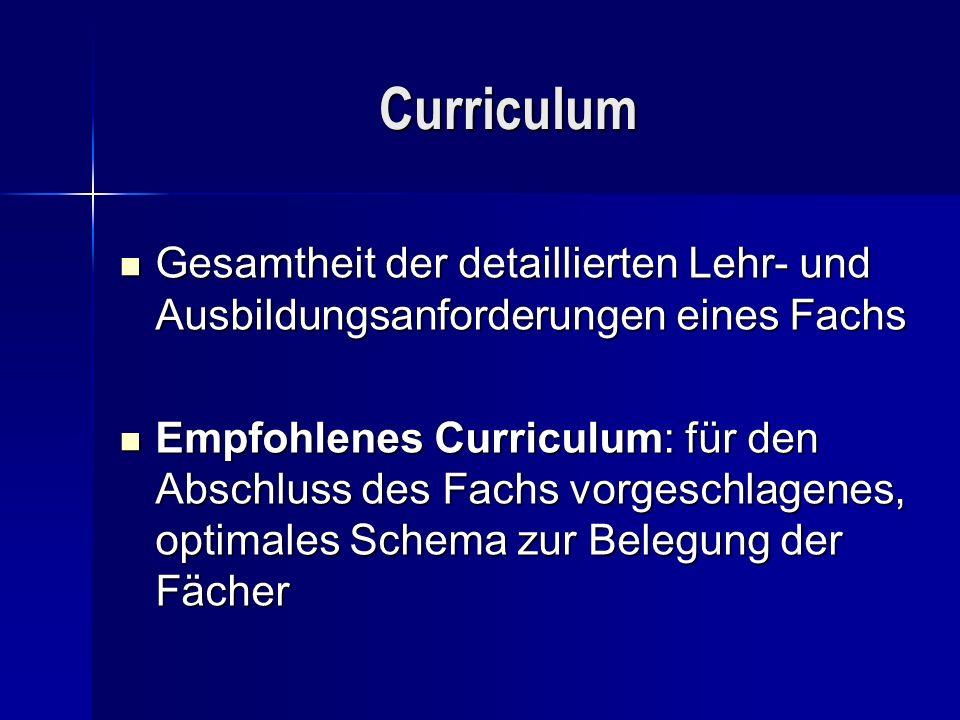 Curriculum Gesamtheit der detaillierten Lehr- und Ausbildungsanforderungen eines Fachs.
