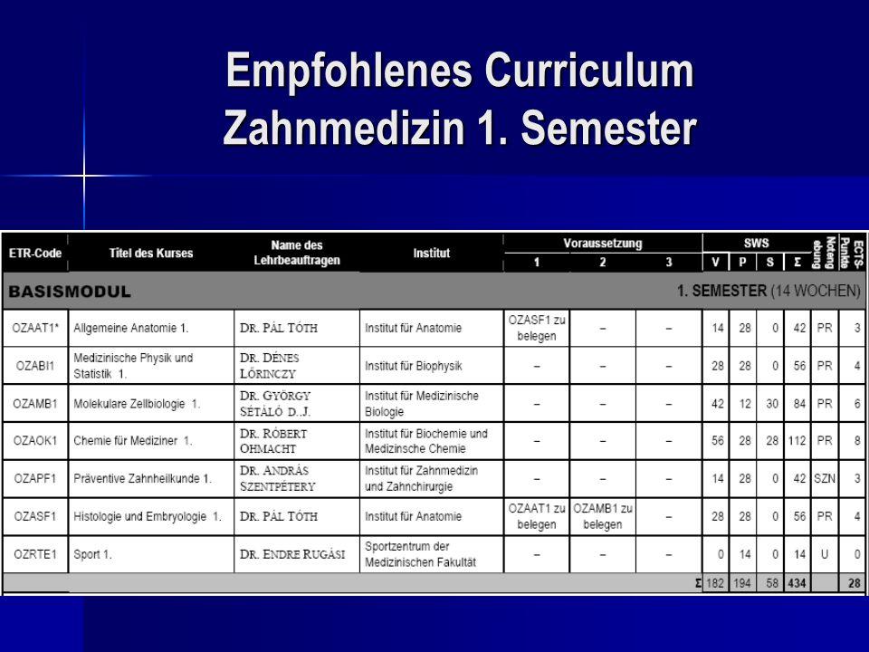 Empfohlenes Curriculum Zahnmedizin 1. Semester