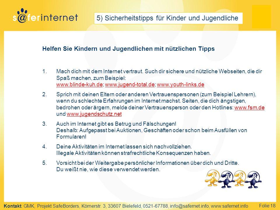 5) Sicherheitstipps für Kinder und Jugendliche