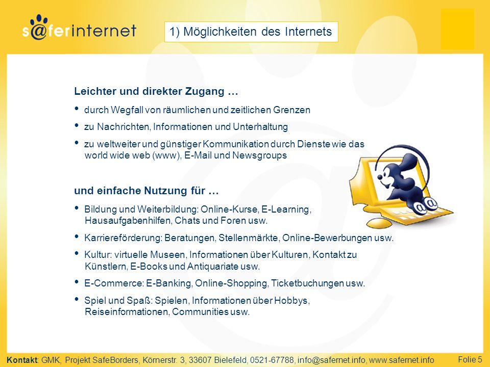 1) Möglichkeiten des Internets