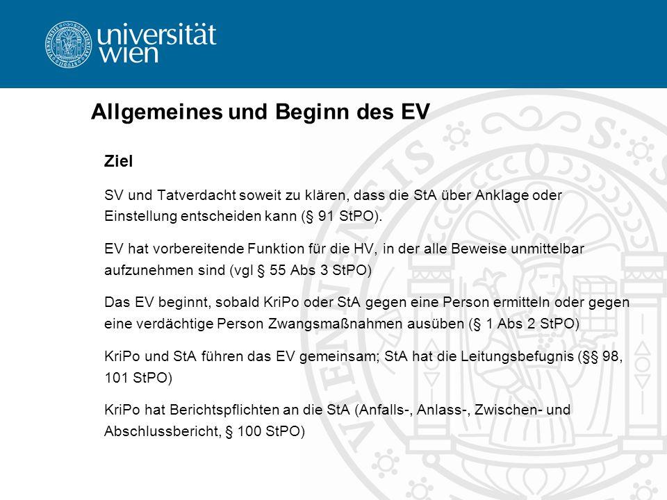 Allgemeines und Beginn des EV