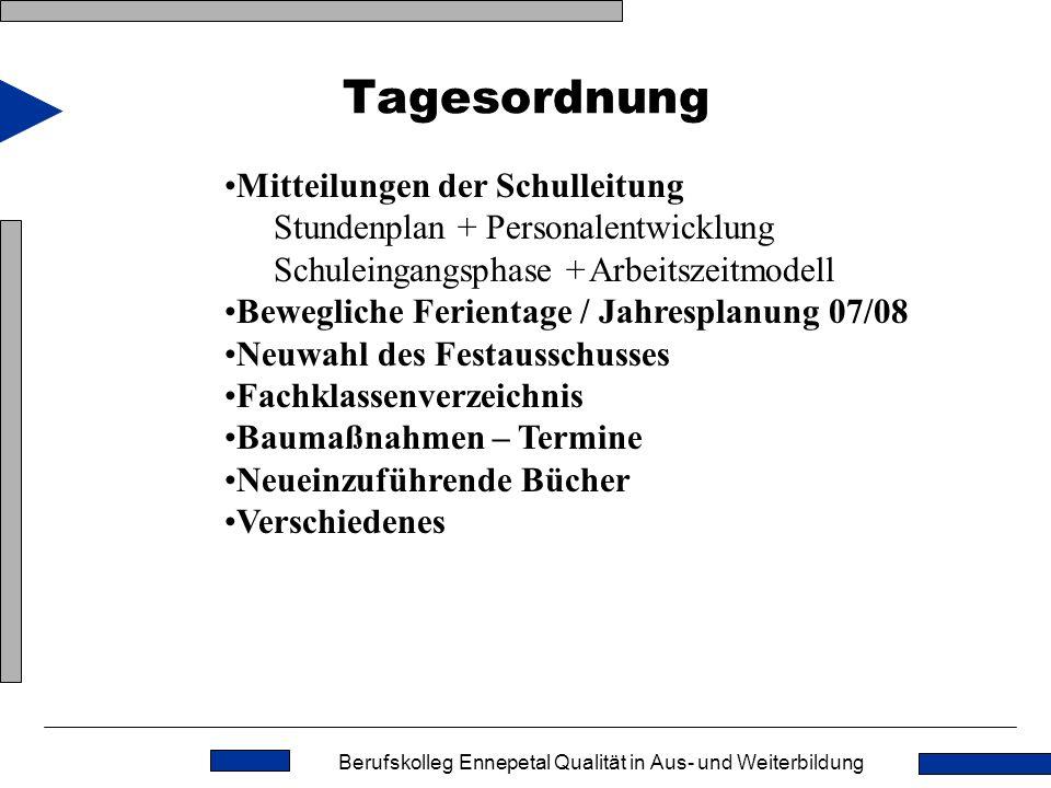 Tagesordnung Mitteilungen der Schulleitung Stundenplan + Personalentwicklung Schuleingangsphase + Arbeitszeitmodell.