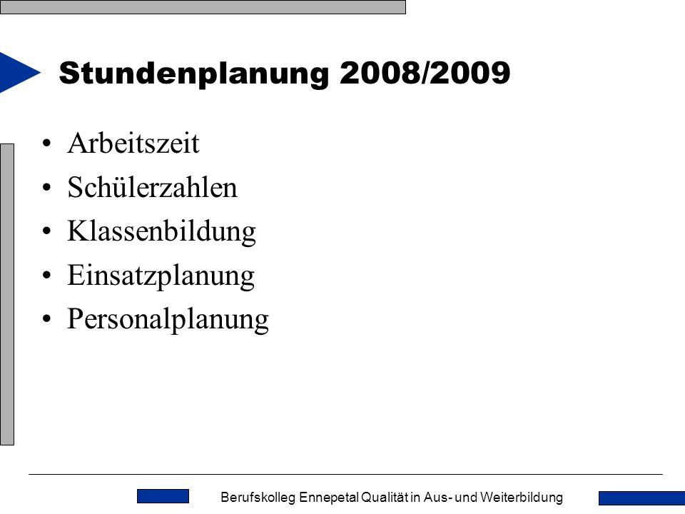 Stundenplanung 2008/2009 Arbeitszeit Schülerzahlen Klassenbildung Einsatzplanung Personalplanung