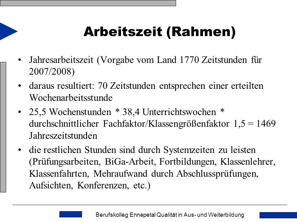 Arbeitszeit (Rahmen) Jahresarbeitszeit (Vorgabe vom Land 1770 Zeitstunden für 2007/2008)