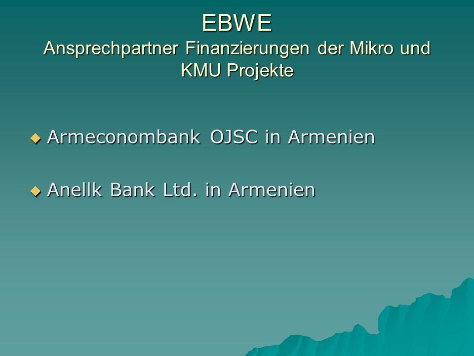EBWE Ansprechpartner Finanzierungen der Mikro und KMU Projekte