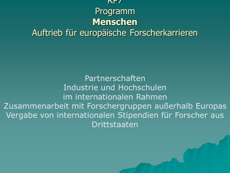 RP7 Programm Menschen Auftrieb für europäische Forscherkarrieren