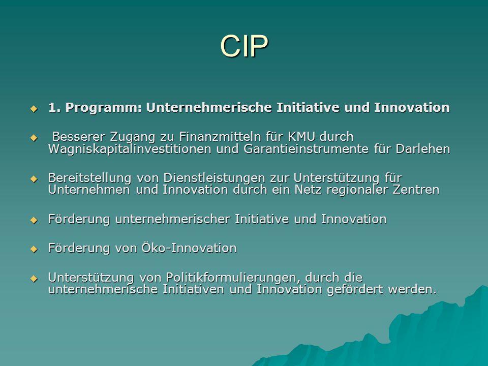 CIP 1. Programm: Unternehmerische Initiative und Innovation