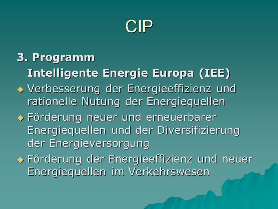 CIP 3. Programm Intelligente Energie Europa (IEE)