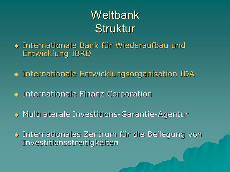 Weltbank Struktur Internationale Bank für Wiederaufbau und Entwicklung IBRD. Internationale Entwicklungsorganisation IDA.