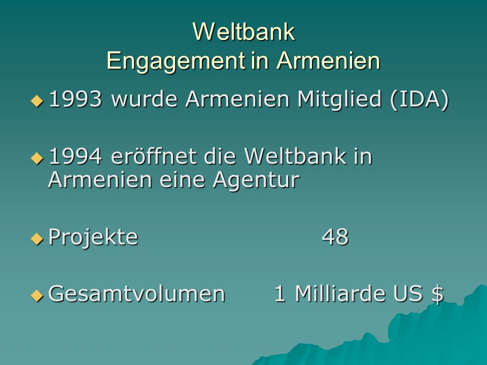 Weltbank Engagement in Armenien