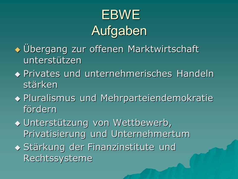 EBWE Aufgaben Übergang zur offenen Marktwirtschaft unterstützen