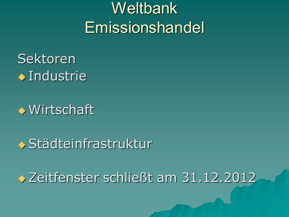 Weltbank Emissionshandel