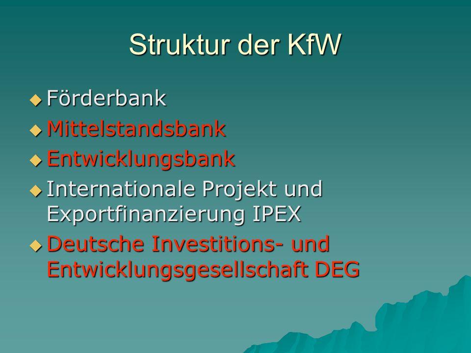 Struktur der KfW Förderbank Mittelstandsbank Entwicklungsbank