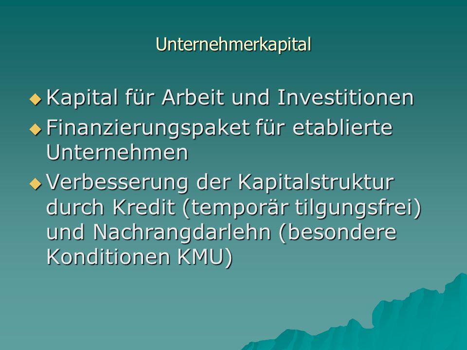 Kapital für Arbeit und Investitionen