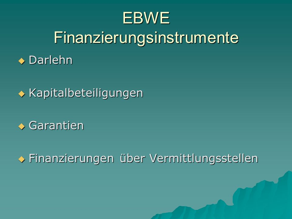 EBWE Finanzierungsinstrumente