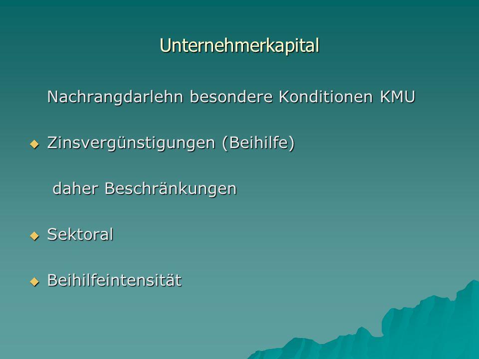 Unternehmerkapital Nachrangdarlehn besondere Konditionen KMU