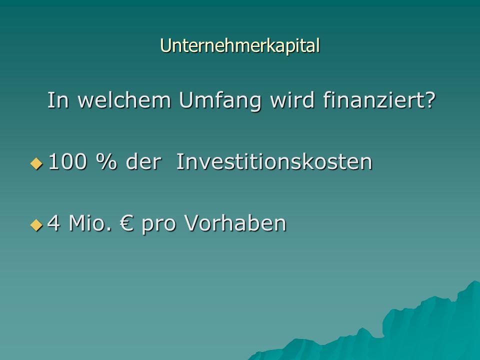 In welchem Umfang wird finanziert 100 % der Investitionskosten