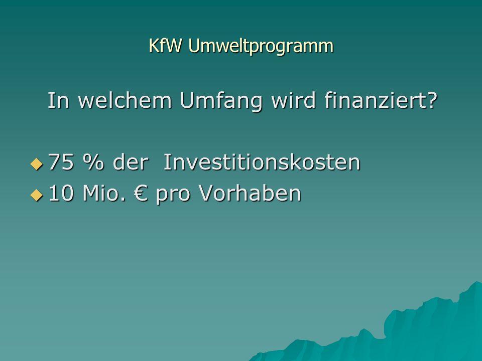 In welchem Umfang wird finanziert 75 % der Investitionskosten