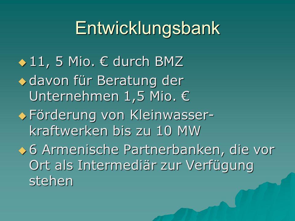 Entwicklungsbank 11, 5 Mio. € durch BMZ