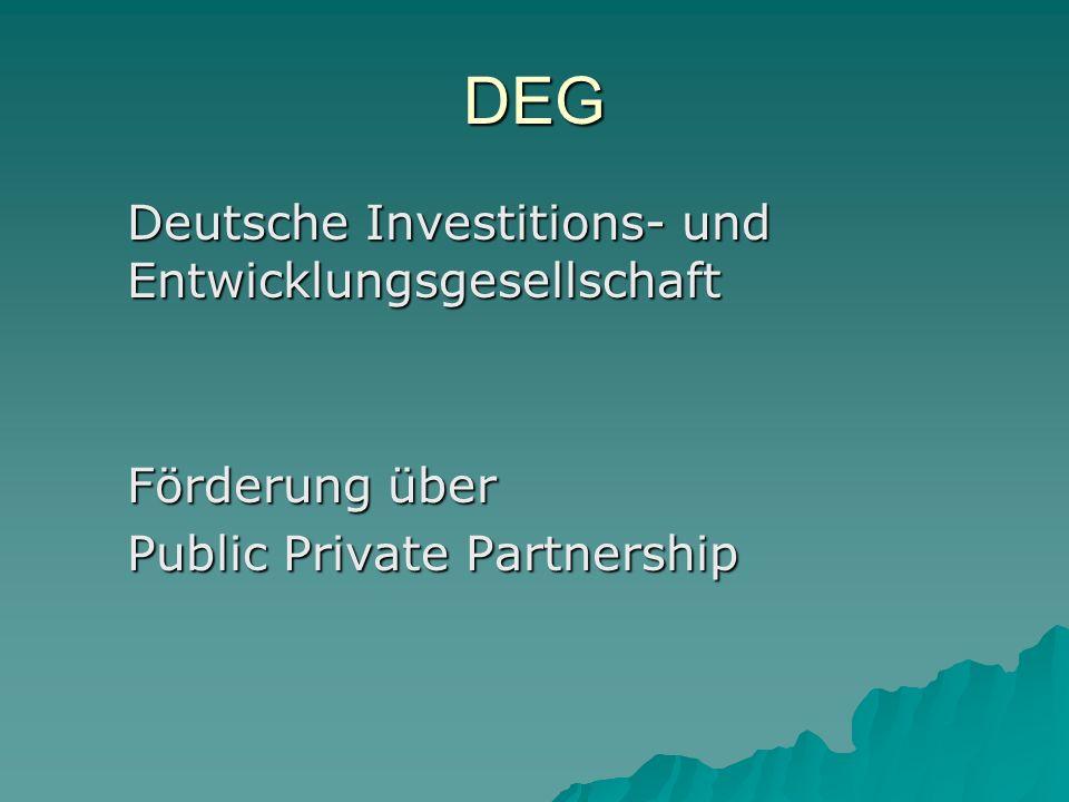 DEG Deutsche Investitions- und Entwicklungsgesellschaft Förderung über