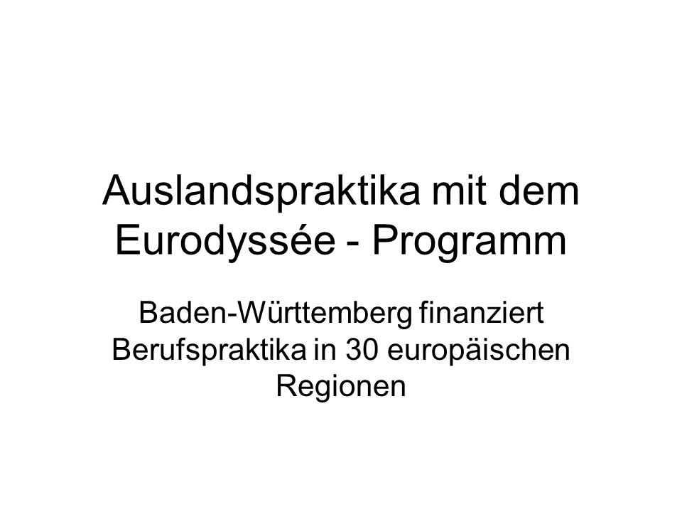 Auslandspraktika mit dem Eurodyssée - Programm