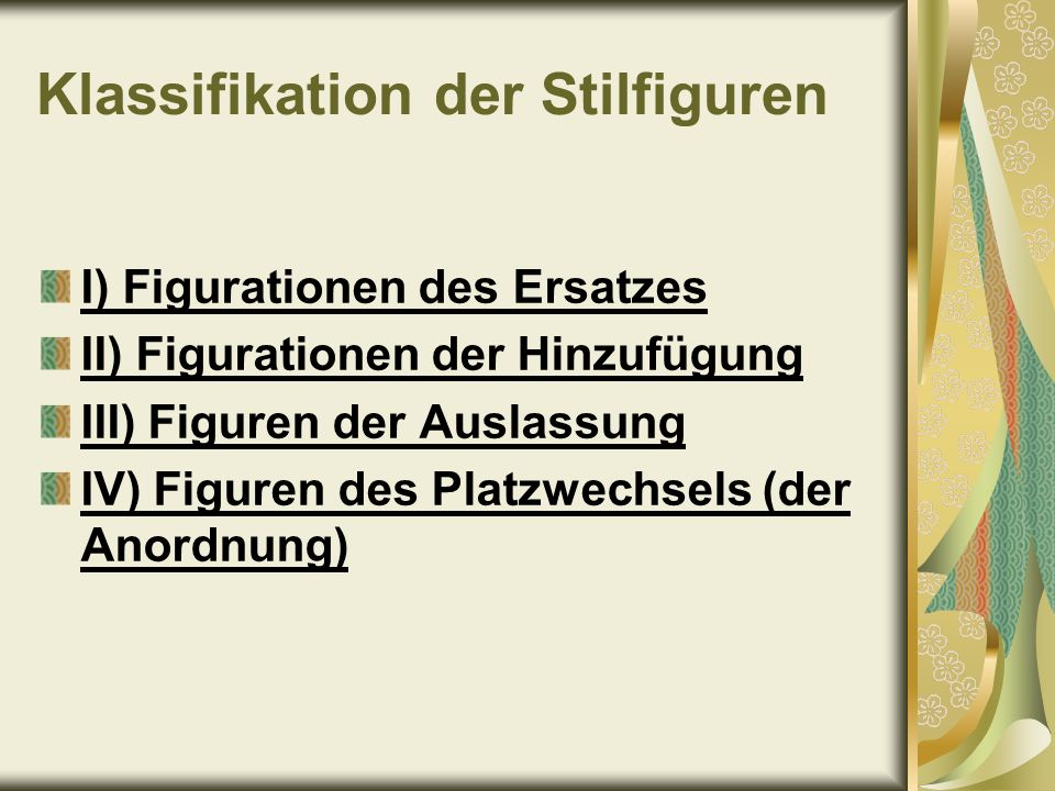 Klassifikation der Stilfiguren