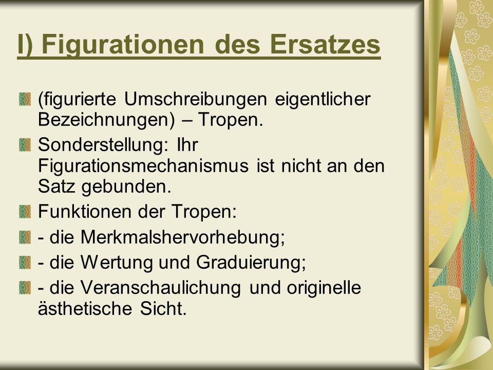 I) Figurationen des Ersatzes