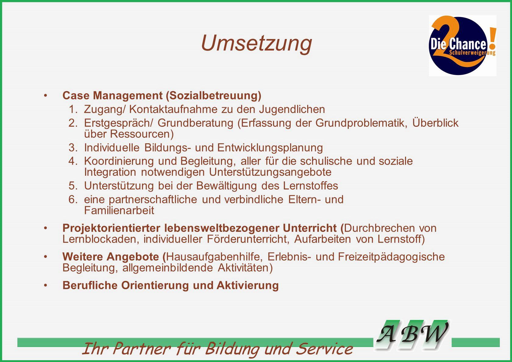 Umsetzung Case Management (Sozialbetreuung)