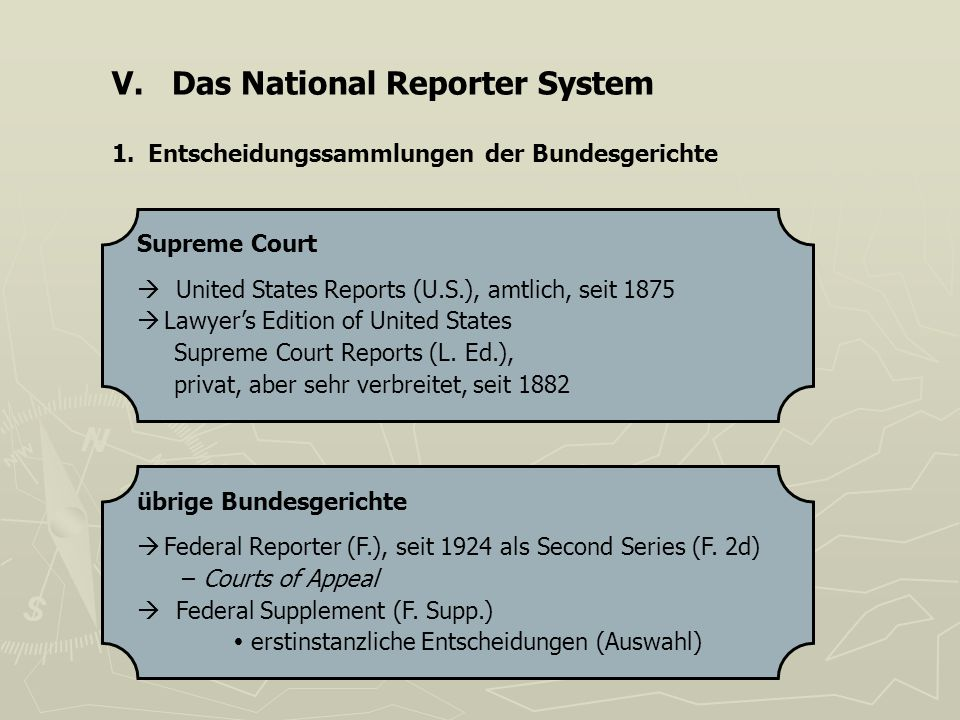 V. Das National Reporter System