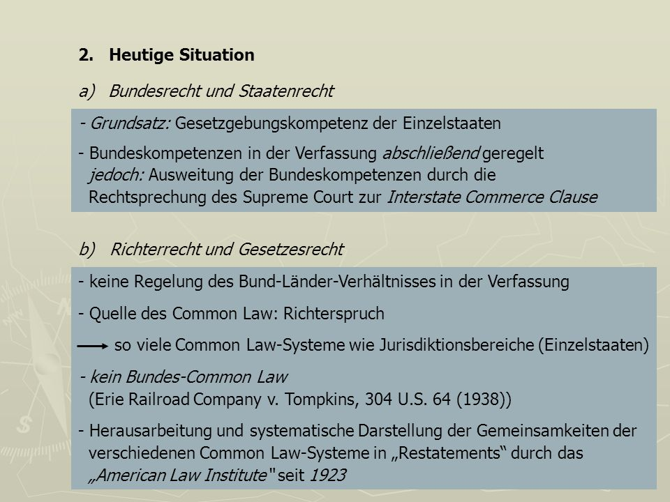 2. Heutige Situation a) Bundesrecht und Staatenrecht. - Grundsatz: Gesetzgebungskompetenz der Einzelstaaten.