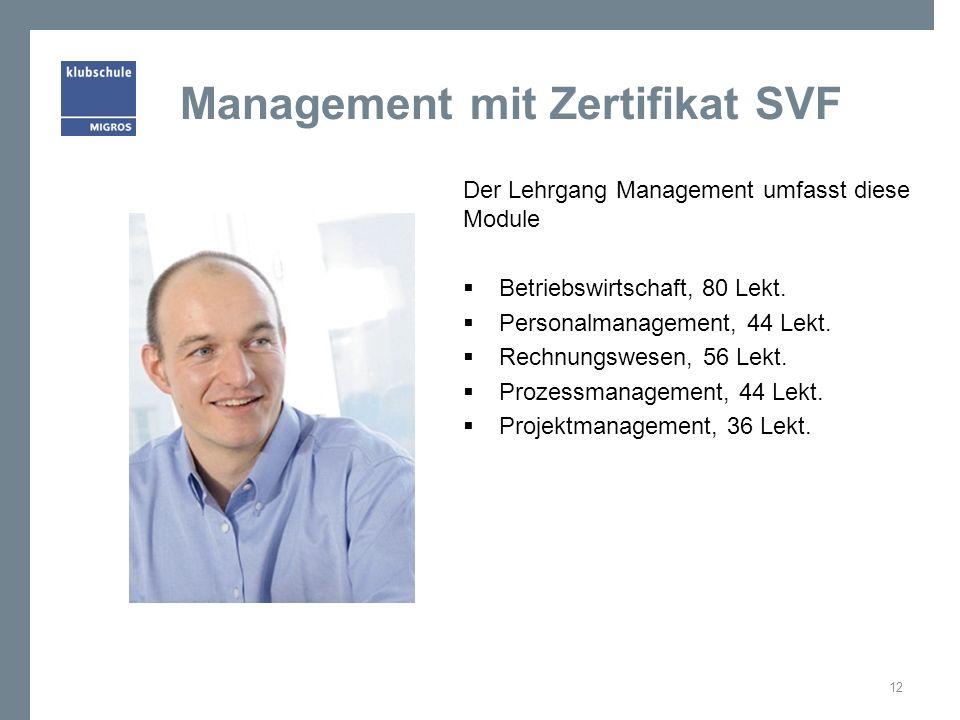 Management mit Zertifikat SVF