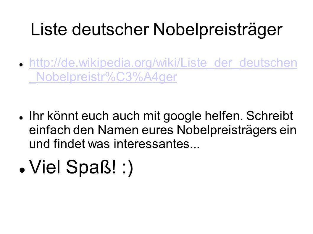 Liste deutscher Nobelpreisträger
