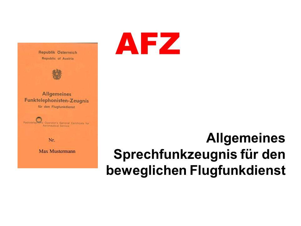 Allgemeines Sprechfunkzeugnis für den beweglichen Flugfunkdienst
