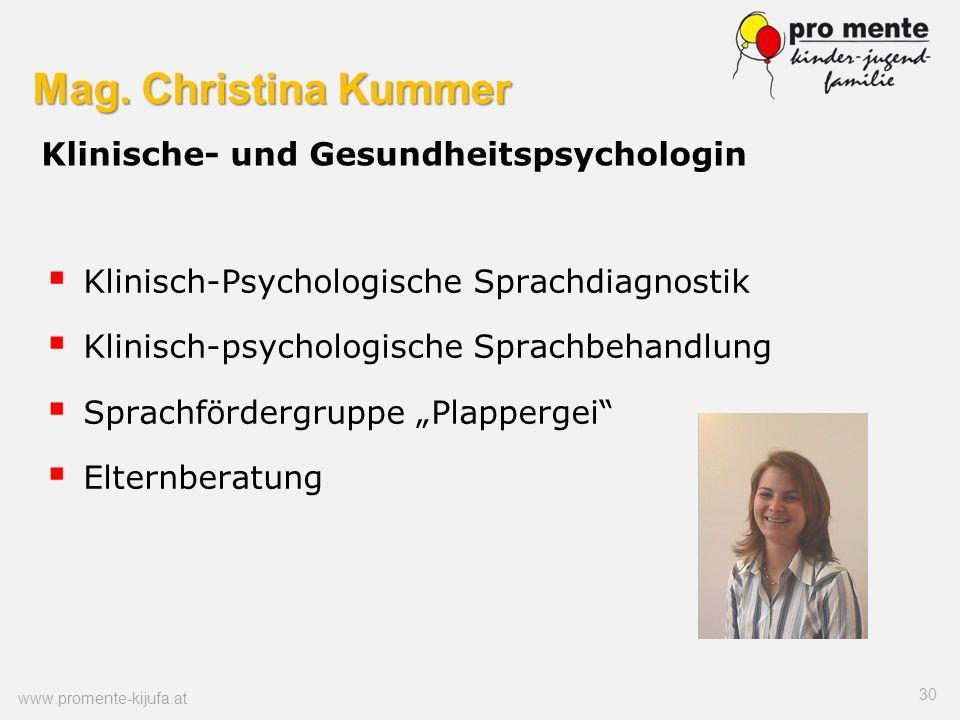 Mag. Christina Kummer Klinische- und Gesundheitspsychologin