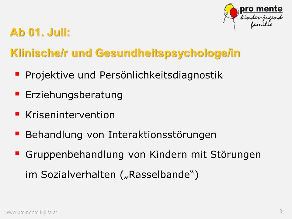 Ab 01. Juli: Klinische/r und Gesundheitspsychologe/in