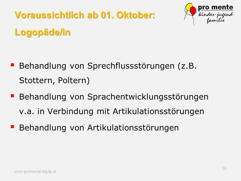Voraussichtlich ab 01. Oktober: Logopäde/in