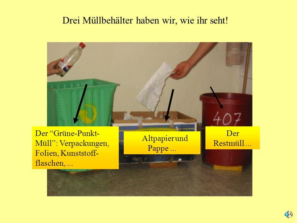 Drei Müllbehälter haben wir, wie ihr seht!